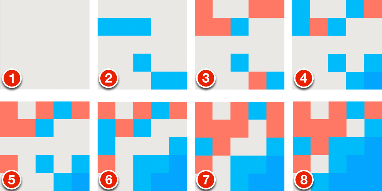 Eight images of a grid showing the progression of a Letterpress game. A dark blue region starts in the lower right corner and expands outwards in each successive image.