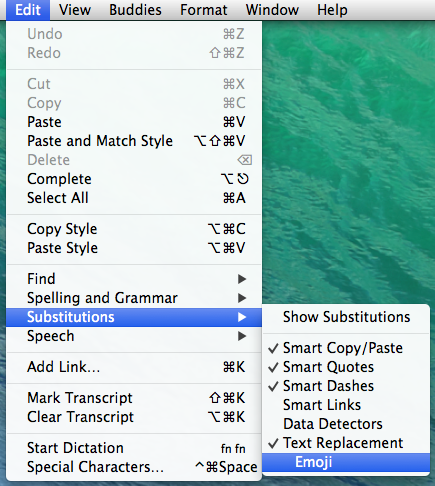 A menu expanded in macOS with Edit, Substitutions, Emoji highlighted.