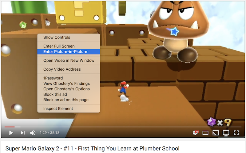 Screenshot of activating PiP on a YouTube video
